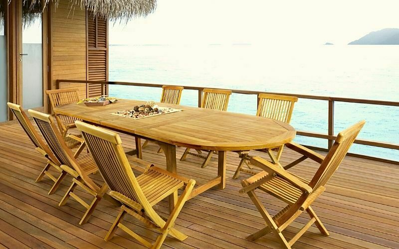 mesa de teca extensible ovalada