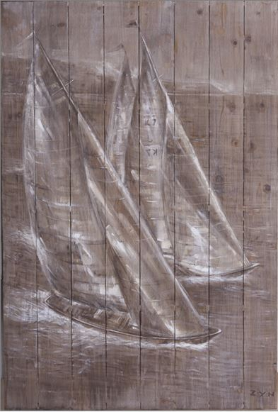 Cuadro: Barcos sobre madera 80x120cm.