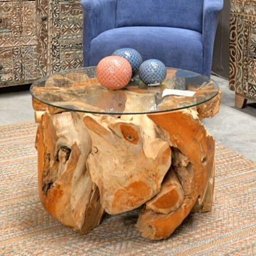 mesa auxiliar de raiz de teca redonda