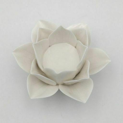 Portavelas de Ceramica Flor de Loto Blanca