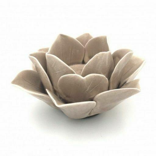 Portavelas de Ceramica Flor de Loto Taupe