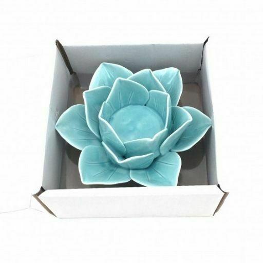 Portavelas de Ceramica Flor de Loto Turquesa