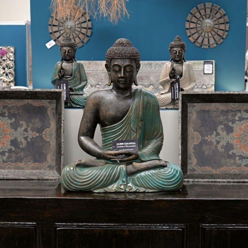 Escultura de Buda Sentado Verde