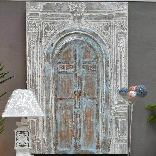 Pintura al óleo de puerta antigua