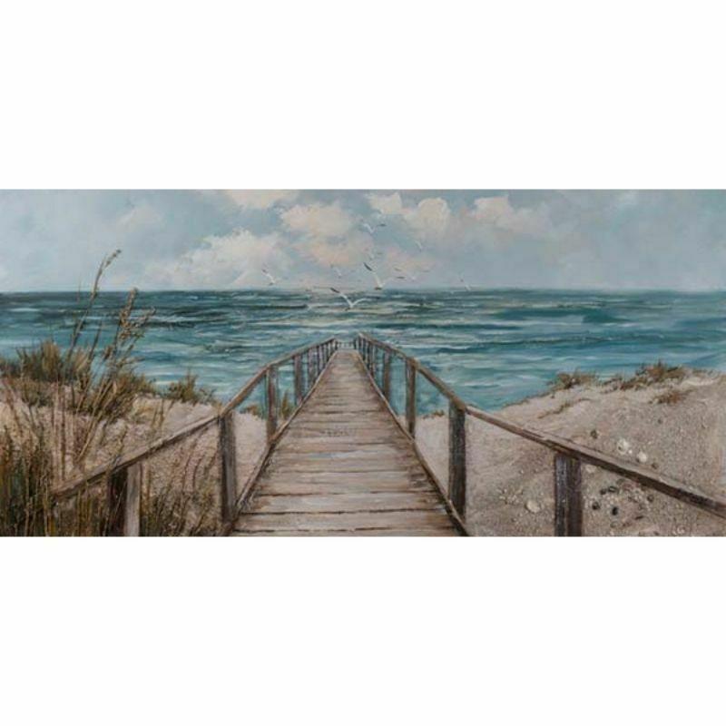 Cuadro de la Playa con Puente de Madera