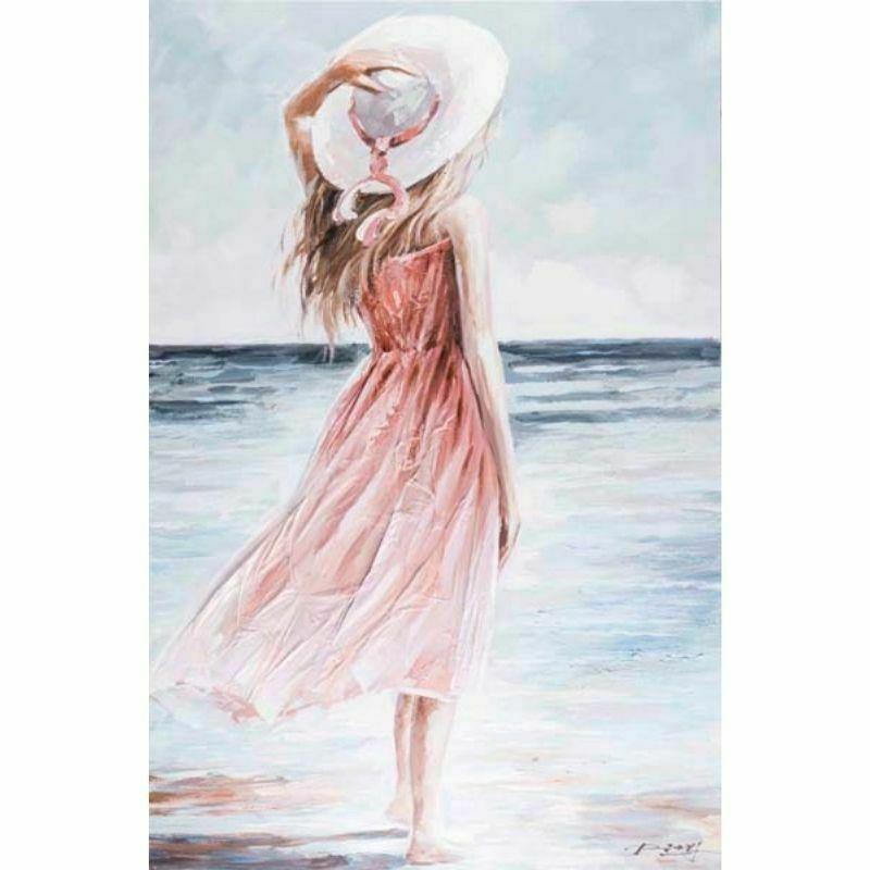 Cuadro de una mujer con sombrero blanco
